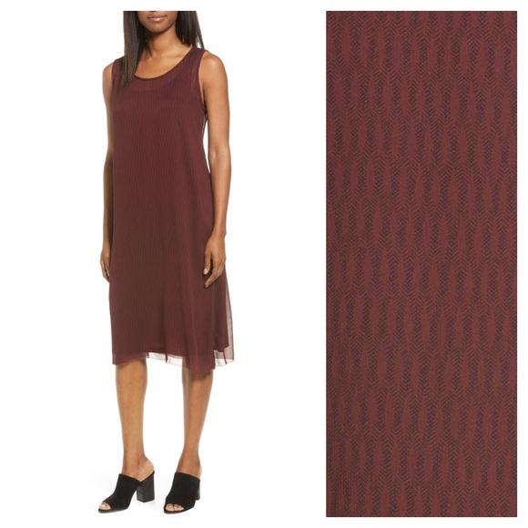 852736ced10b Eileen Fisher Dresses & Skirts - [Eileen Fisher] Maroon Silk Geo Print Tank  Dress